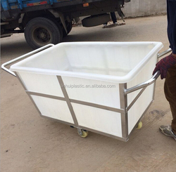 K500liter Rotomolding Large square Plastic storage laundry carts and trolley with wheels