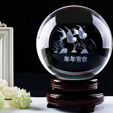 Religion Table Decoration 3D Engraved Crystal Ball