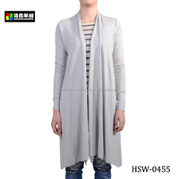 Ladies Fancy Silk Cashmere Knitted Long Cardigan, Ladies Long Drape Cardigan Sweater