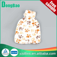 1000ml white with colorful dots soft plush hot water bottle with soft plush cover footprint