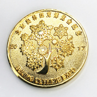 Gold plated circular souvenir coin made in china