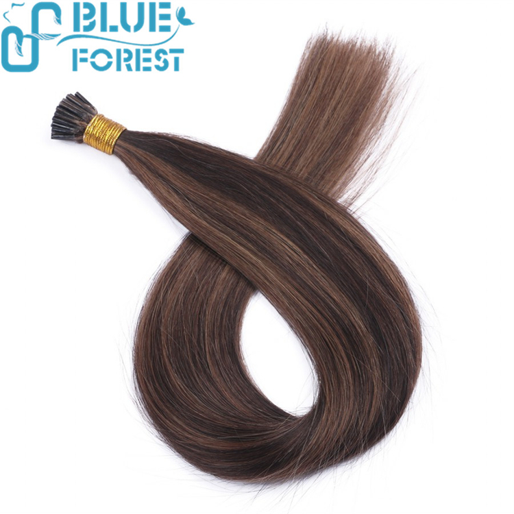Top quality i-tip Italian keratin pre-bonded human hair Brazilian remy hair blond color nail tip human hair weaving