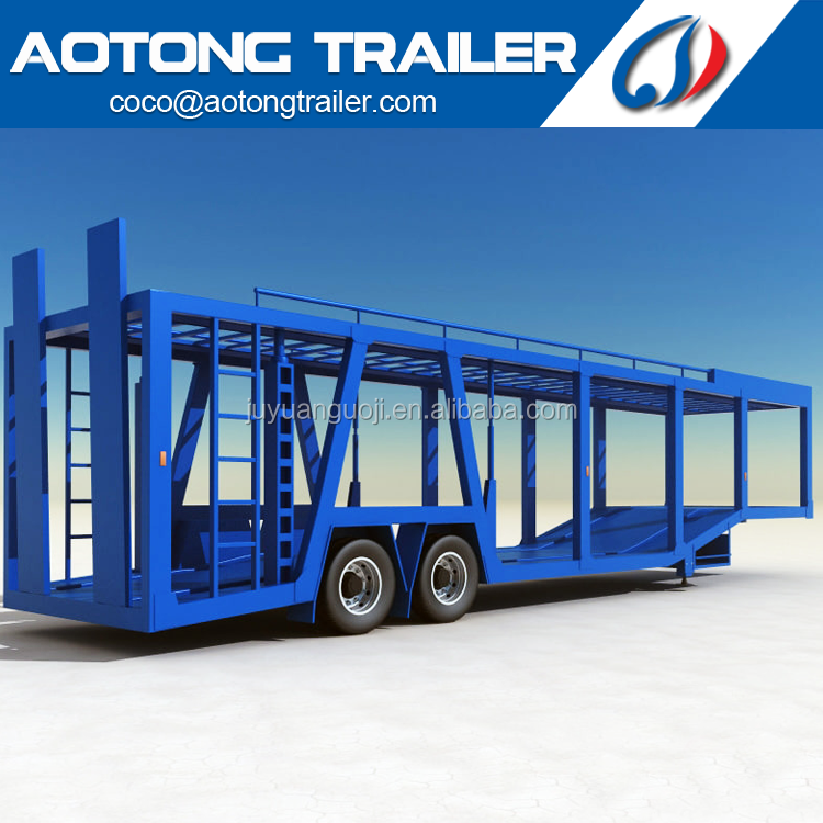Extension-type hydraulic double floor semi truck 2 <strong>axles</strong> 8 units <strong>car</strong> carrier type vehicle trailer with ladder