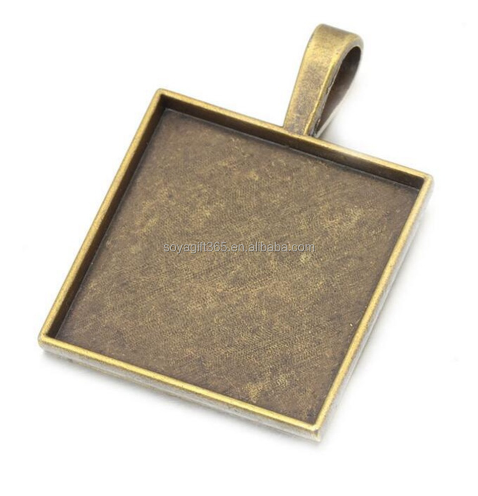 50pcs/lot 25mm Antique Bronze Silver Square Blank Bezel Pendant Trays