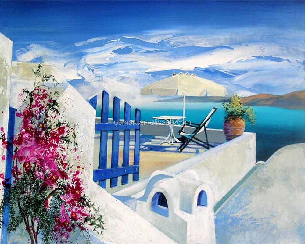 Big Wholesale Price High Quality Handmade Mediterranean Canvas Seascape Oil Painting for Home Decoration