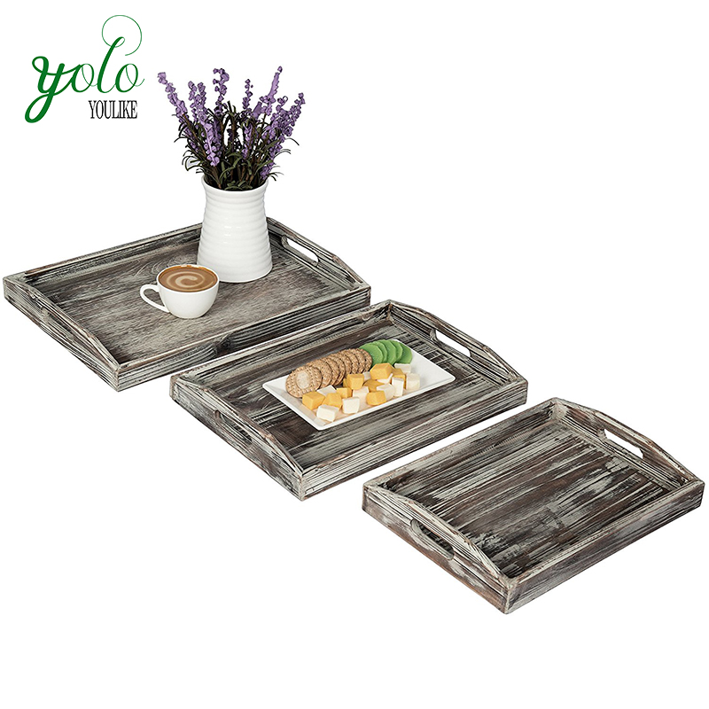 Rustic 3 Pieces Nesting Wood Serving Tray with Handle