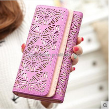 Fashion hollow out design paper women wallet with custom pattern , chinese paper cut design lady girl wallet with magnet closure