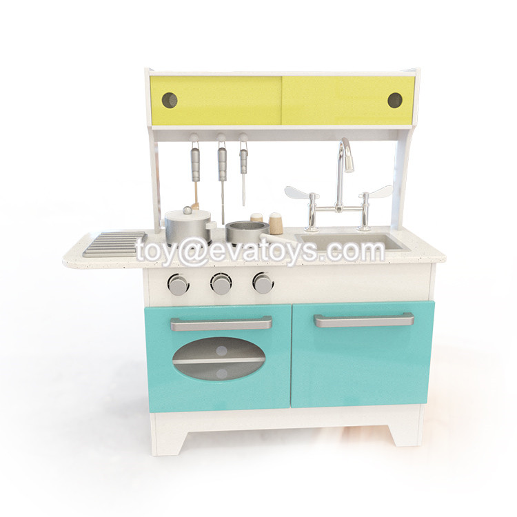 New design espresso wooden pretend toy kitchen set for children W10C337