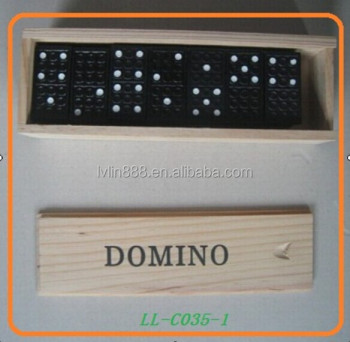 Deluxe Strategy Wood Domino Game Fill in Wooden Box