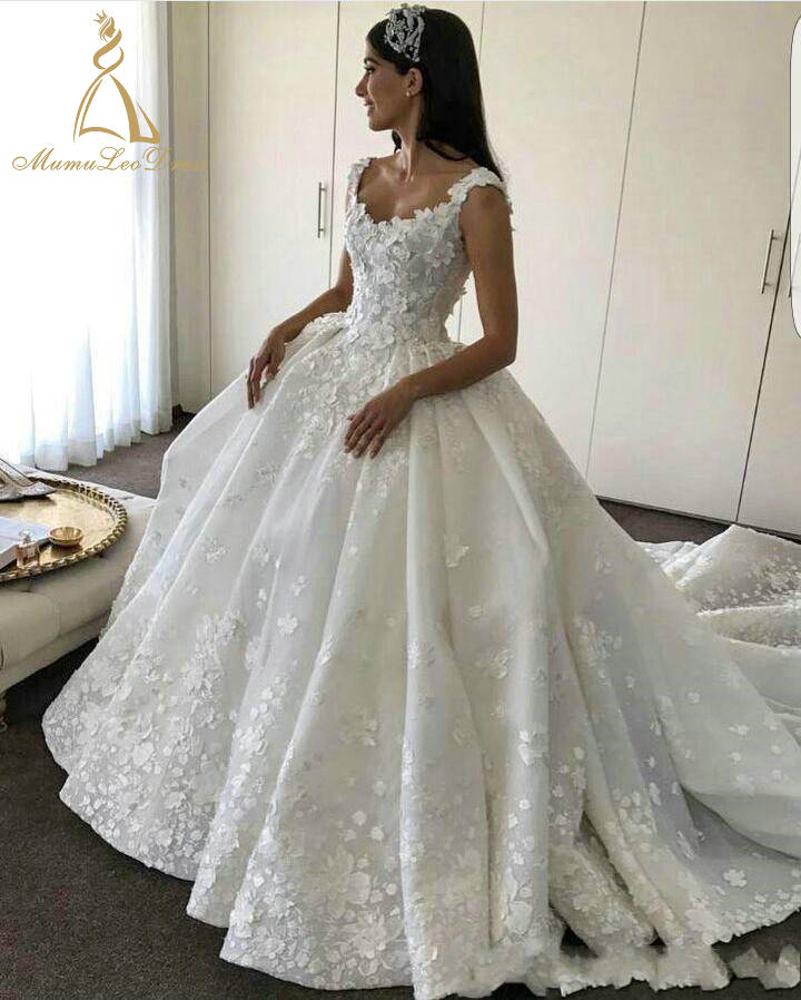 Puffy Skirt Satin Style Plus Size Picture Beautiful Strap Floral Applique Princess Wedding Dress Bridal Gown