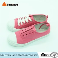 Classic pink lace-ups school canvas shoes