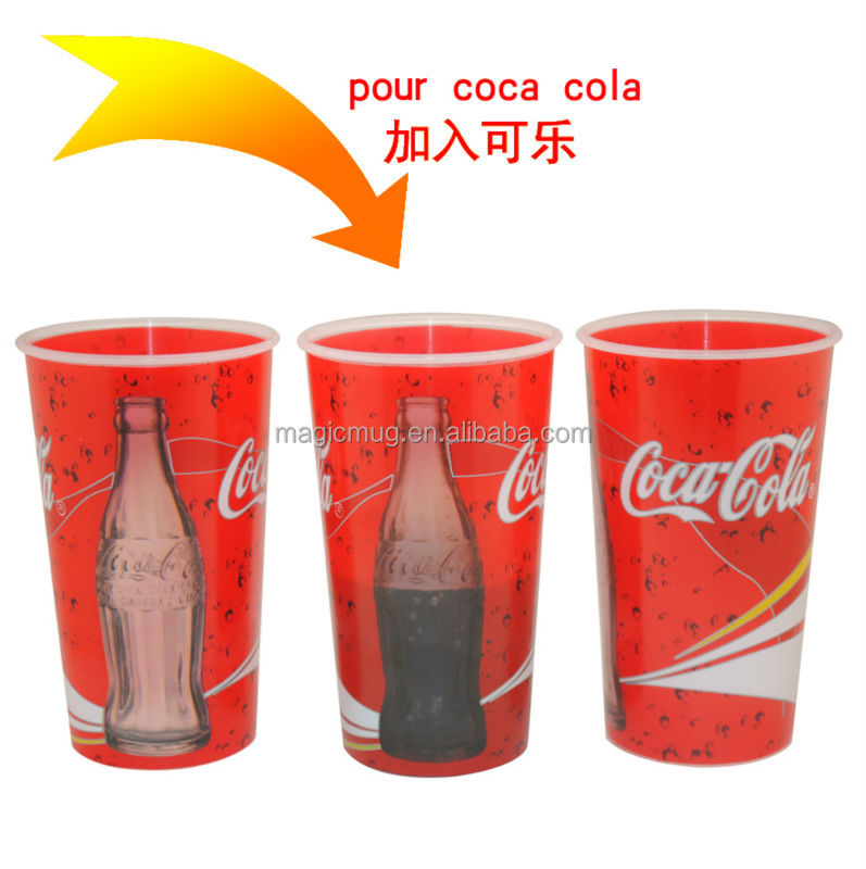 clear coke cola audited factory plastic cup can see drink through inside