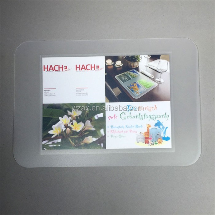 Clear plastic sheet high quality custom logo pp placemat