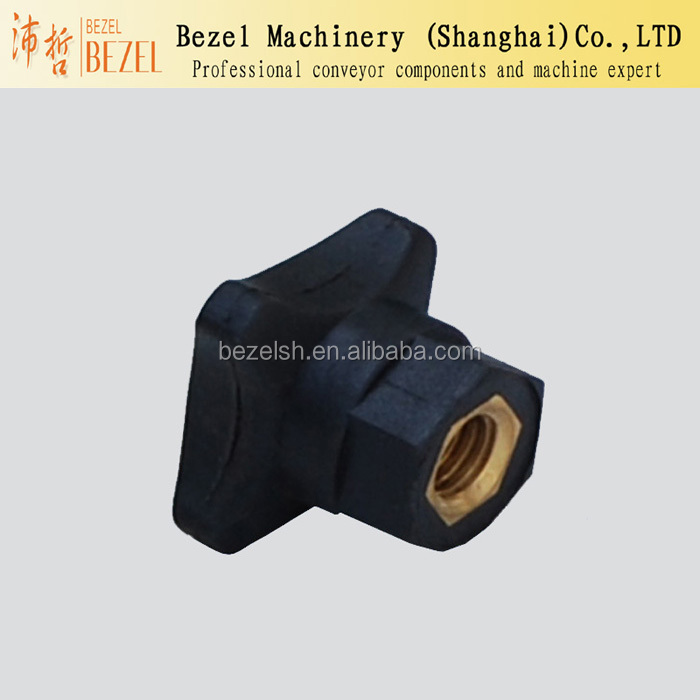 Inner threaded knob for conveyor and packing machine