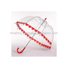 Red Heart Full Printed Dome Shaped Transparent Umbrella For Rain