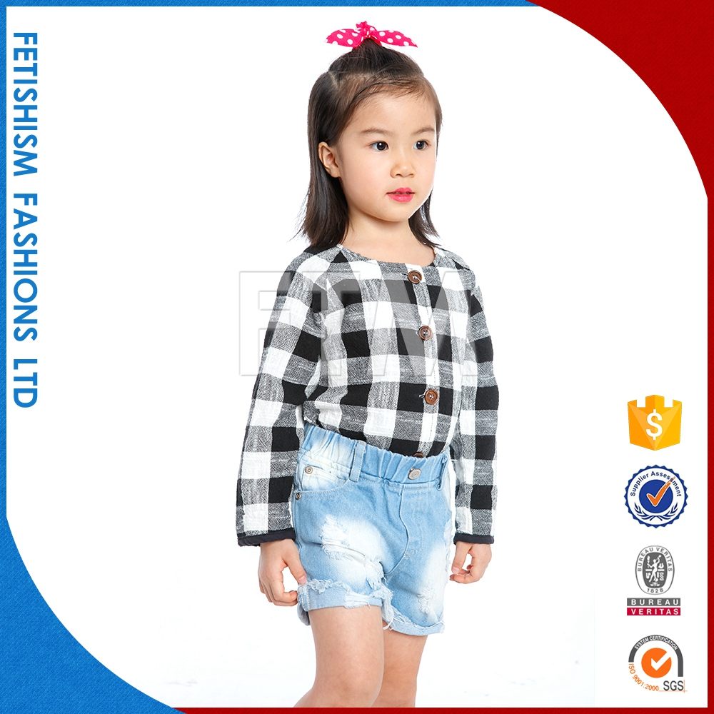 2017 Popular O neck black and white grid cotton girls designer kids clothes for sale