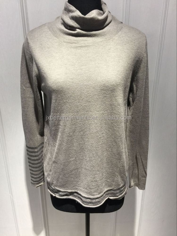 BGAX16097 High collar sweater soft wool cashmere knitted pullover with strip on sleeves and bottom