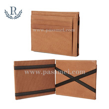 Minimalist slim vegetable tanned leather travel bifold rfid blocking magic wallet with zip coin pocket