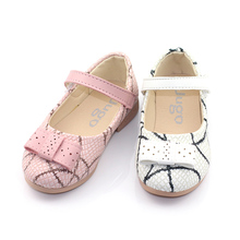 Hot Wholesale PU Snakeskin Bowknot Kids Casual Nude Shoes For Girls