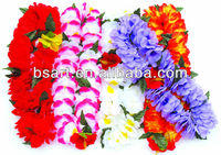 Elegant flower fabric leis with big red flower