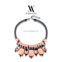 ROXI 2015 Fashion Pink Statement Jewelry necklace Black Gun Plated pendant necklace Luxury Vintage Bohemia necklace