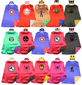 Satin 2layer Super Rod War Superhero Kids Cape+mask Halloween Costume Cosplay Favors Dress up Easy Costume
