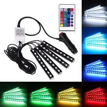 4Pcs Universal Car Interior Decorative Light RGB LED Strip Light Atmosphere Lamp Kit Foot Lamp With 24 Key Remote Controller