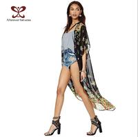 A Forever Fairness Printing Flower Chiffon Soft Kimono Women's Cardigan