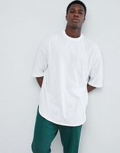ZY wholesale customized <strong>men</strong> short sleeve oversized longline curved hem cotton white t shirts