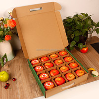 2018 hot selling corrugated box customize cardboard printing handle apple fruit packaging box with divider