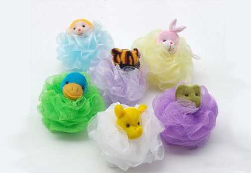 multi-color ruffle mesh sponge,shower sponge,body scrubber