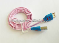 LED smile face phone cable,Lovely Pink Smile Face LED Light USB Charger Phone Cable for Samsung Galaxy Note3