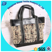 OEM logo customized European lady Canvas PU handbag