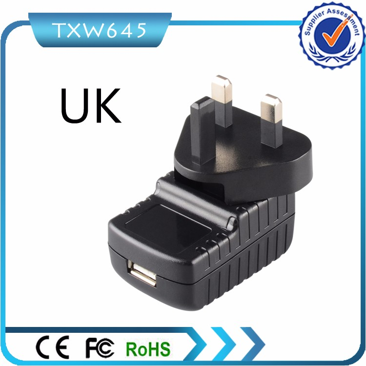 3PIN 5V 2A USB UK Wall Plug AC Power Adapter Charger