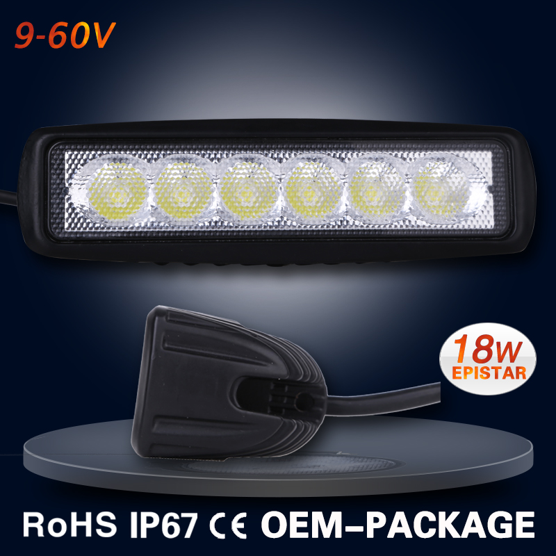 Wholesale 9-60V auto led light work light 18W with free logo free color box IP67