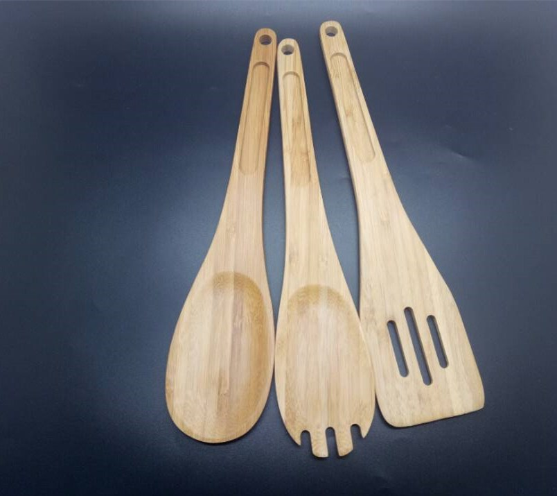 3pcs Bamboo salad cooking tool kitchen utensils set