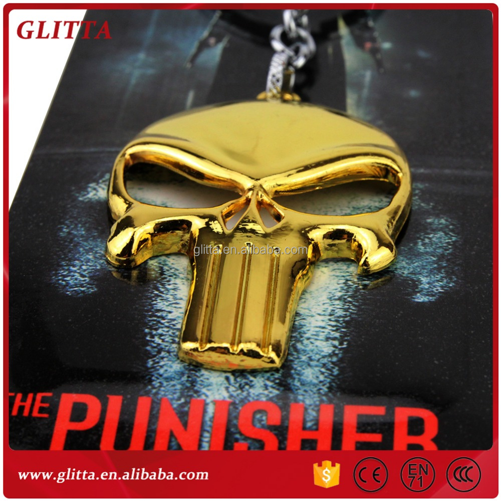 The Punisher Skeleton Skull keychain,Skeleton Mask Alloy Key Holder ring,Punisher Logo Metal Key Chain GK1533