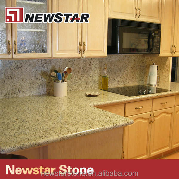 Polished prefab kitchen countertop Giallo Ornamental granite countertop