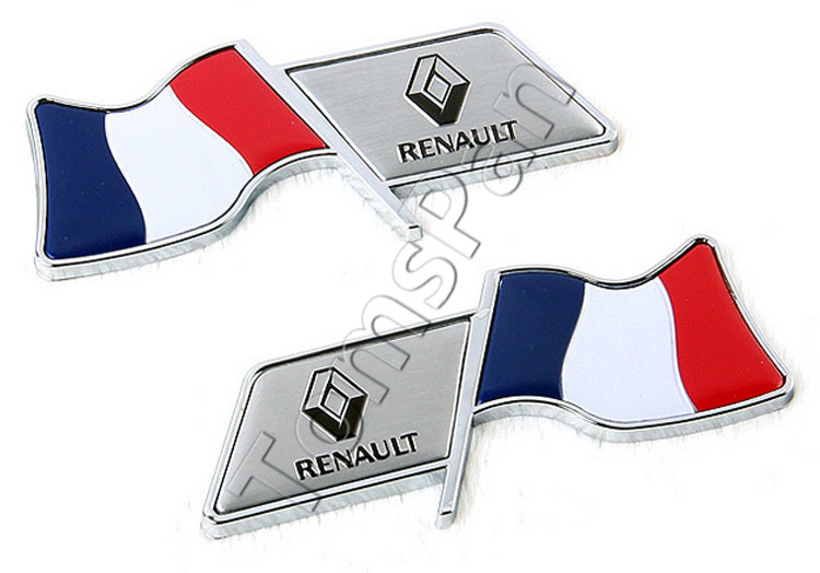 New 2pcs/lot aluminum plating France flag emblem racing fender car sticker for renault cars tank tail decoration free shipping