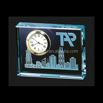 Jade Glass Engraved Rectangle Promotional Table Clock for office