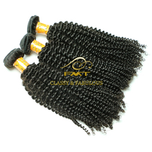 European Virgin Hair Afro Kinky Curly Human Hair Weave Natural Black