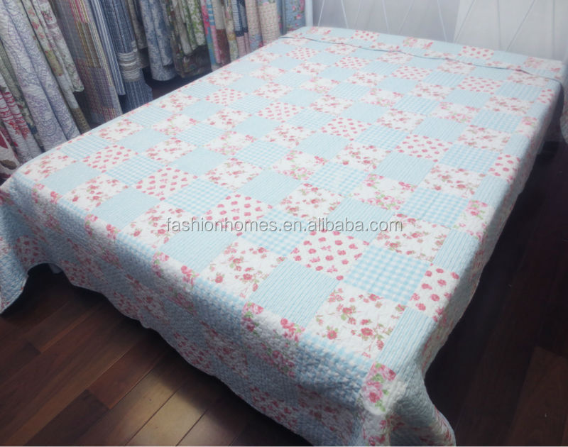Handmade cotton plaid quilt/appliqued patchwork bedspread