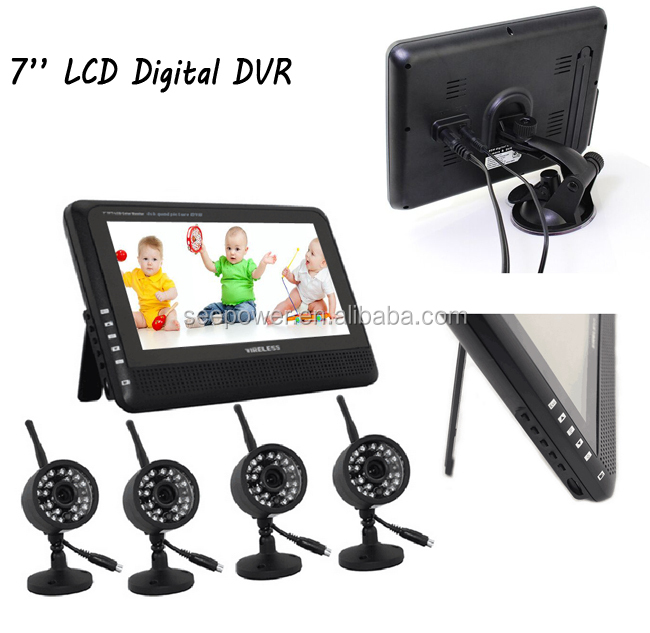 "night vision 2.4ghz wireless 7"" tft lcd baby monitor with recordable 4CH quad display, support 32GB SD card"