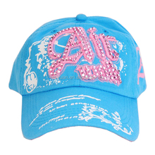 nepal customized logo beautiful washable cotton twill young girls embroidery printing hotfix rhinestone six panels baseball cap