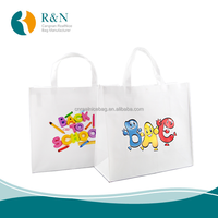 Made in China Factory recyclable custom cute colorful design pp non woven gift tote bag in white color