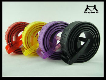 Colorful promotional silicone belts with plastic buckle