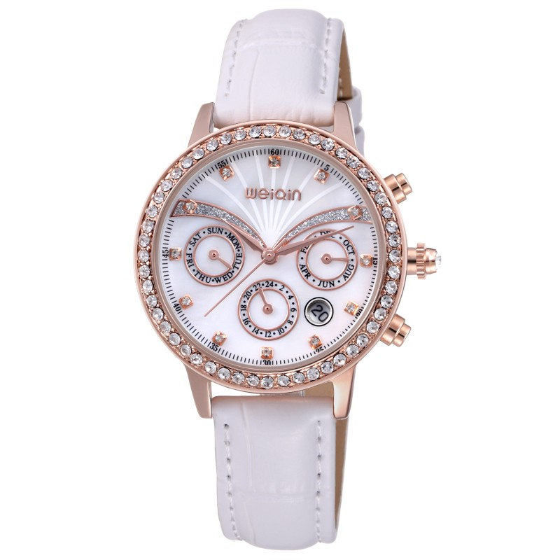 WEIQIN W4789 genuine leather functional chrono diamond watch for women