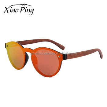 Hot Promo Custom One Piece Lens PC Frame Wood Women Sunglasses
