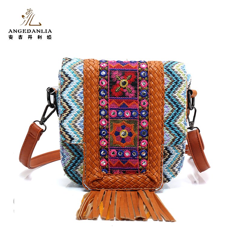 Professional bohemian style women's travel shoulder tote bag with silk scarf
