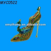 High heel with peacock decorative jeweled enamel box